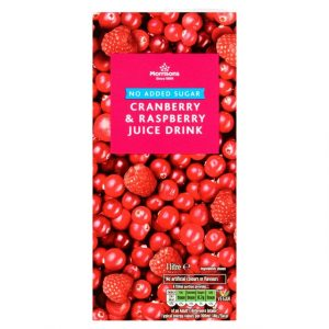 Morrisons cranberry and raspberry juice